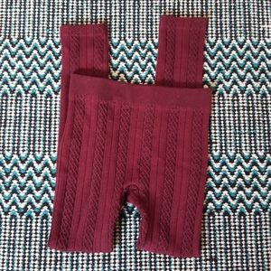 Burgundy cable knit sweater leggings